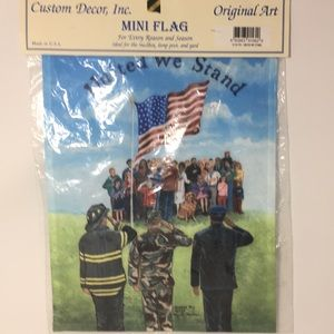 Mini flag for outside home with  first responders